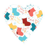 Vector Christmas heart, greeting card. Winter holiday design, frame made of childish doodles. Image with candy, Santa socks, text, snowflakes Royalty Free Stock Images