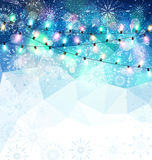 Vector Christmas holiday  background with snowflakes, snow and g Stock Photography