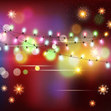 Vector Christmas holiday  background with snowflakes, snow and g Royalty Free Stock Photo