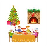 Vector christmas holiday scenes set Stock Image