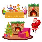 Vector christmas holiday scenes set Royalty Free Stock Photos