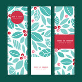 Vector christmas holly berries vertical banners Royalty Free Stock Image