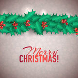 Vector Christmas Holly Garland Messages and Stock Image
