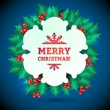 Vector Christmas Holly Garland Messages and Royalty Free Stock Photography