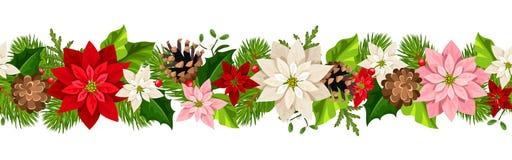 Christmas seamless garland with poinsettia flowers. Vector illustration. stock illustration