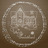 Vector Christmas house hand drawn pattern on wooden background. Stock Photos