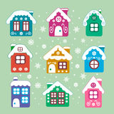 Vector christmas houses set Royalty Free Stock Photos