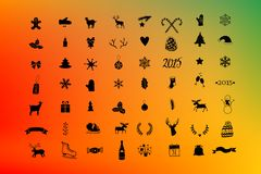Vector christmas icon set, winter silhouette with colorful background  50 icons. Stock Photo