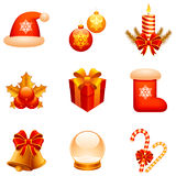 Vector Christmas icons. Set of 9 Christmas icons, isolated on white background Royalty Free Stock Photo