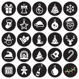 Christmas icons set. 25 Vector Christmas Icons, december holidays. White on a black background Royalty Free Stock Image