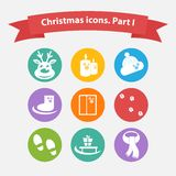 Vector Christmas icons in a flat style. Royalty Free Stock Images