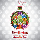 Vector Christmas illustration with abstract bulb a. Nd holiday elements on a snowflakes background Stock Photo