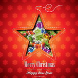 Vector Christmas illustration with abstract star design and holiday elements on snowflakes background Royalty Free Stock Images