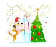Vector christmas illustration of cheerful dog character in santa hat with mobile phone, gift boxes standing at fir tree isolated o. N white background. Merry Royalty Free Stock Images