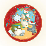 Vector christmas illustration with cute animals and snowman Royalty Free Stock Photos