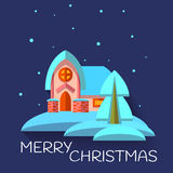 Vector Christmas illustration with cute house in Royalty Free Stock Photography
