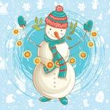 Vector Christmas  illustration of cute snowman Stock Photos