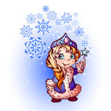 Vector Christmas illustration of funny Snow-Maiden Royalty Free Stock Image