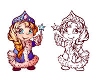 Vector Christmas illustration of funny Snow-Maiden Stock Photos
