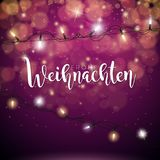 Vector Christmas Illustration with German Frohe Weihnachten Typography and Holiday Light Garland on Shiny Red Background.  Stock Image