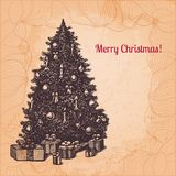 Vector Christmas illustration with hand drawn fir Stock Images
