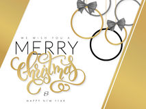 Vector christmas illustration with hand lettering golden label and christmas ornaments Royalty Free Stock Photos