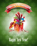 Vector Christmas illustration with magic gift box. Vector Christmas illustration with magic gift box on green background Royalty Free Stock Image