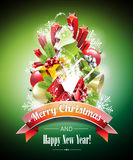 Vector Christmas illustration with magic gift boxes. Royalty Free Stock Images