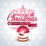 Vector Christmas illustration with magic snow globe and typographic design on snowflakes background. Stock Photos