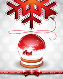 Vector Christmas illustration with magic snow globe and typographic design on snowflakes background. Stock Image