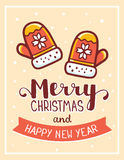 Vector christmas illustration of red color knitted mittens with. Handwritten text merry christmas on light background with snow. Flat style design for web, site Royalty Free Stock Images