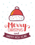 Vector christmas illustration of red color santa claus hat with. Handwritten text merry christmas on white background with snow. Flat style design for web, site Stock Images