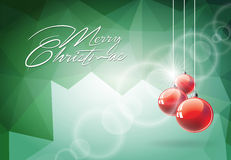 Vector Christmas illustration with red glass ball on abstract geometric background.  Royalty Free Stock Photo