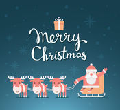 Vector christmas illustration of santa claus on sleigh and reind Royalty Free Stock Photography