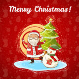 Vector Christmas illustration of Santa Claus, snowman and Christmas tree Stock Images
