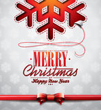 Vector Christmas illustration with snowflakes desi Stock Photo