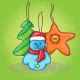 Vector christmas illustration with snowman Stock Images