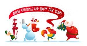 Vector christmas illustration with snowman, santa claus Stock Photos