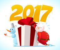 Vector christmas illustration with snowman and santa claus funny character portrait isolated. Cartoon style. Happy New Year and Merry Xmas design element Royalty Free Stock Photography