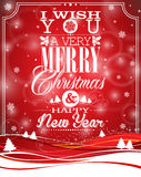 Vector Christmas illustration with typographic design on landscape background Royalty Free Stock Image