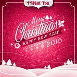 Vector Christmas illustration with typographic design on landscape background Stock Image