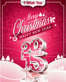 Vector Christmas illustration with typographic design on landscape background Stock Photo