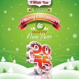 Vector Christmas illustration with typographic design on landscape background Royalty Free Stock Photos