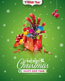 Vector Christmas illustration with typographic design and magic gift box on green background Royalty Free Stock Image