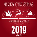 Vector Christmas illustration with typographic design and new year wish on red background. vector illustration