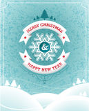 Vector Christmas illustration with typographic design and ribbon on landscape background. Royalty Free Stock Images
