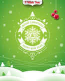Vector Christmas illustration with typographic design and ribbon on landscape background. Stock Images