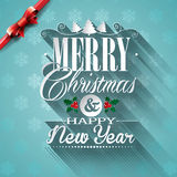 Vector Christmas illustration with typographic design and ribbon on snowflakes background. Stock Image