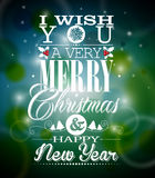Vector Christmas illustration with typographic design on shiny background. Royalty Free Stock Photos