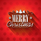 Vector Christmas illustration with typographic design on snowflakes background. Stock Photo